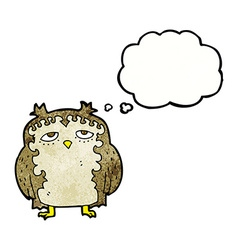 Cartoon wise old owl with thought bubble vector