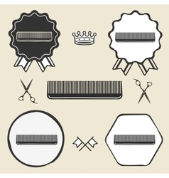 Comb hair brush vintage symbol emblem label vector