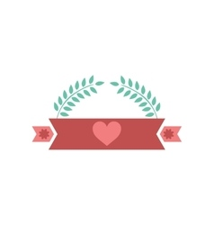 Flat icon on white background ribbon heart leaves vector