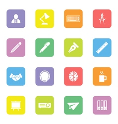 Colorful flat icon set 8 on rounded rectangle vector