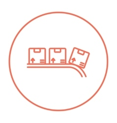 Conveyor belt for parcels line icon vector