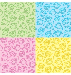 funny faces patterns vector image