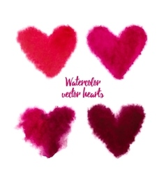 Set of pink watercolor hearts vector