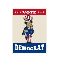 Democrat Donkey Mascot Thumbs Up Flag vector image