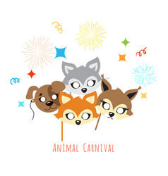 animal carnival decoration cartoon masks on face vector image