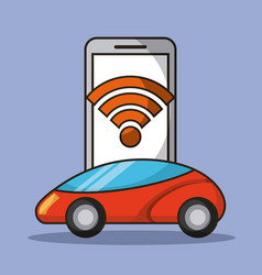Autonomous car mobile phone application connection vector