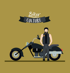 Biker culture poster with man and classic vector