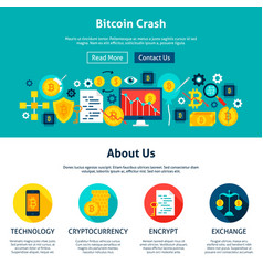 Bitcoin crash website design vector