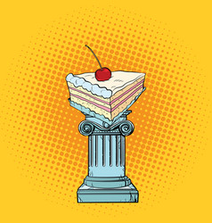 Cake with cherries in the antiques column vector