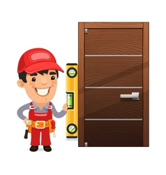Carpenter checks the new door vector