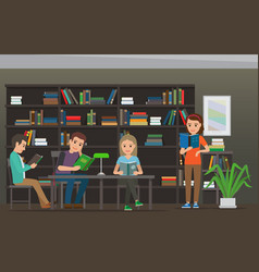 cartoon people read books at library library room vector image