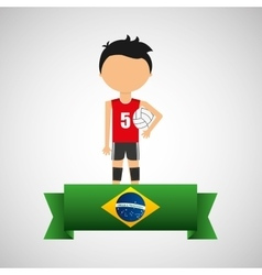 cartoon voleyball player brazilian label vector image vector image