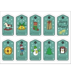 Christmas gift tags stikers and labels vector