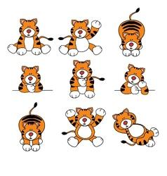 cute tiger cartoon set vector image vector image