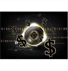 digital currency worldwide financing golden coin vector image