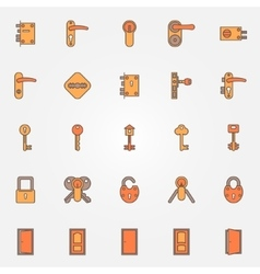Door locks keys icons vector