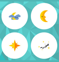 flat icon midnight set of night asterisk moon vector image vector image