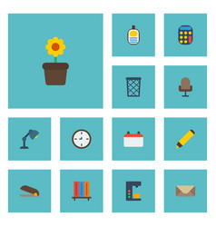 Flat icons plant pot armchair trash basket and vector