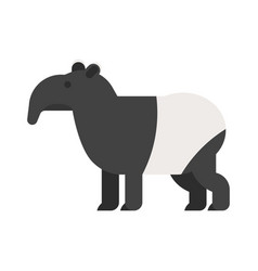 flat style of tapir vector image vector image