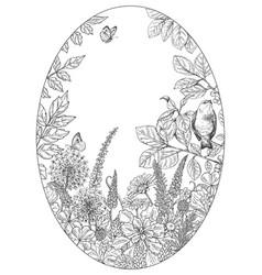 hand drawn wildflowers butterflies and bird vector image
