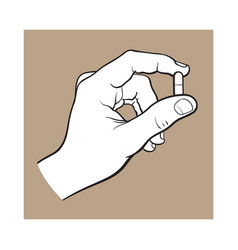 Hand holding two piece gelatin capsule by two vector