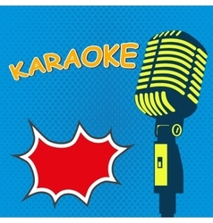 Karaoke Old style microphone on pop art style vector image vector image