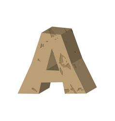 letter a stone font rock alphabet symbol stones vector image