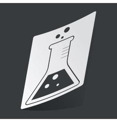 Monochrome conical flask sticker vector