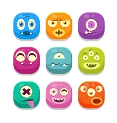 Monster Emoji Icons Set vector image vector image