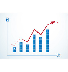 Oil barrels and price growth graph vector