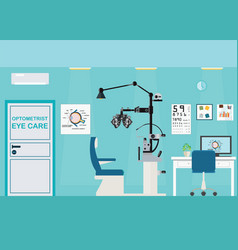 Ophthalmologist interior office with phoropter vector