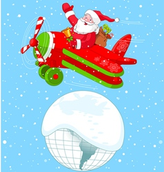 Santa Flying His Christmas Plane vector image vector image