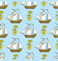 Seamless pattern with ship palms and island vector
