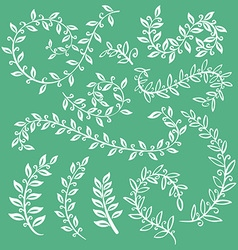 Set wreaths and laurel hand painted green branches vector