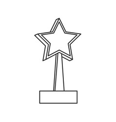 Star trophy win prize outline vector