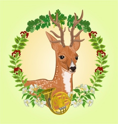 Young deer frame leaves and french horn vector