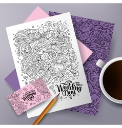 Cartoon doodles wedding corporate identity set vector