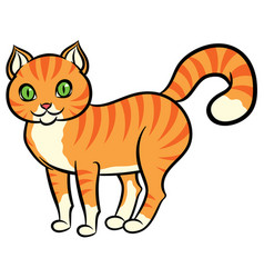 Cartoon red cat with stripes vector
