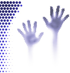 Halftone hands silhouette vector image