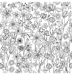 Seamless pattern with contour black-and-white vector