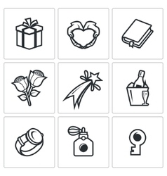 Gifts for women on holiday icons set vector