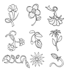 Set of sketches of flowers vector