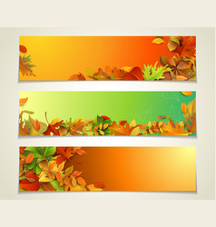Set of bright horizontal fall banners vector