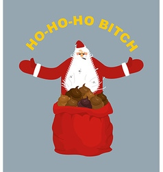 Bad evil santa claus amoral santa with cigar red vector