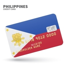 Credit card with Philippines flag background for vector image