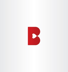 Letter b with heart inside logo icon vector