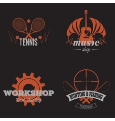 Set of retro labels orange vintage design vector image