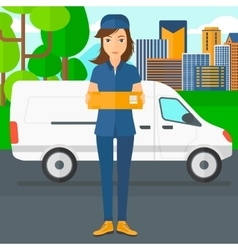 Woman delivering box vector
