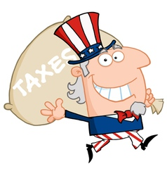 Waving uncle sam carrying a taxes sack vector