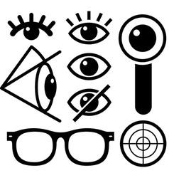 Human eye icons black vector